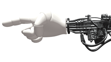 Bionic hand pointing a finger