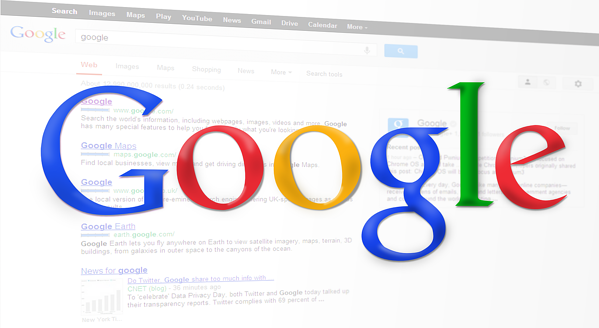 Google logo in front of faded search results